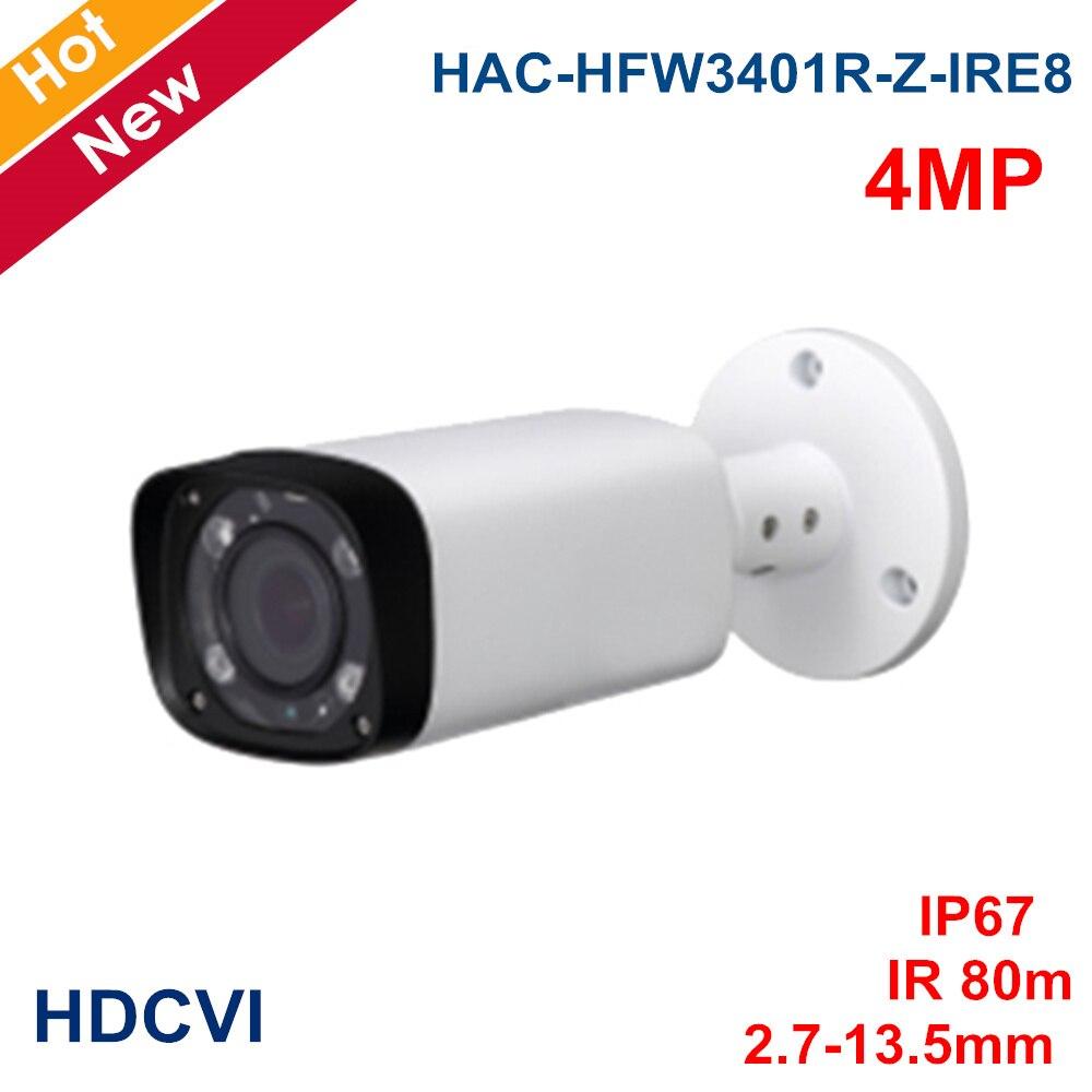 Nouveau 4mp 2 K caméra coaxiale HAC-HFW3401R-Z-IRE8 objectif motorisé 2.7-13.5mm IR 80 mètres caméra de balle étanche CCTV Cam système