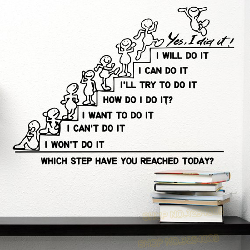 Motivation Wall Decals Quote Which Step Have You Reached Today Decal Office Sticker Bedroom Nursery Home Decor Art Murals L895