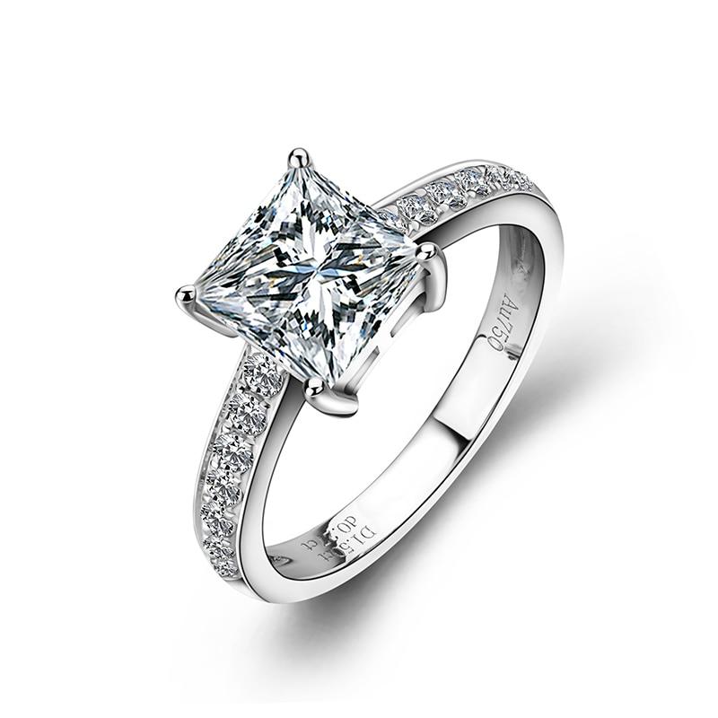 Bague de fiançailles mode or blanc 18 k 4 griffes princesse coupe Moissanite diamant bague de mariage cadeau pour amoureux