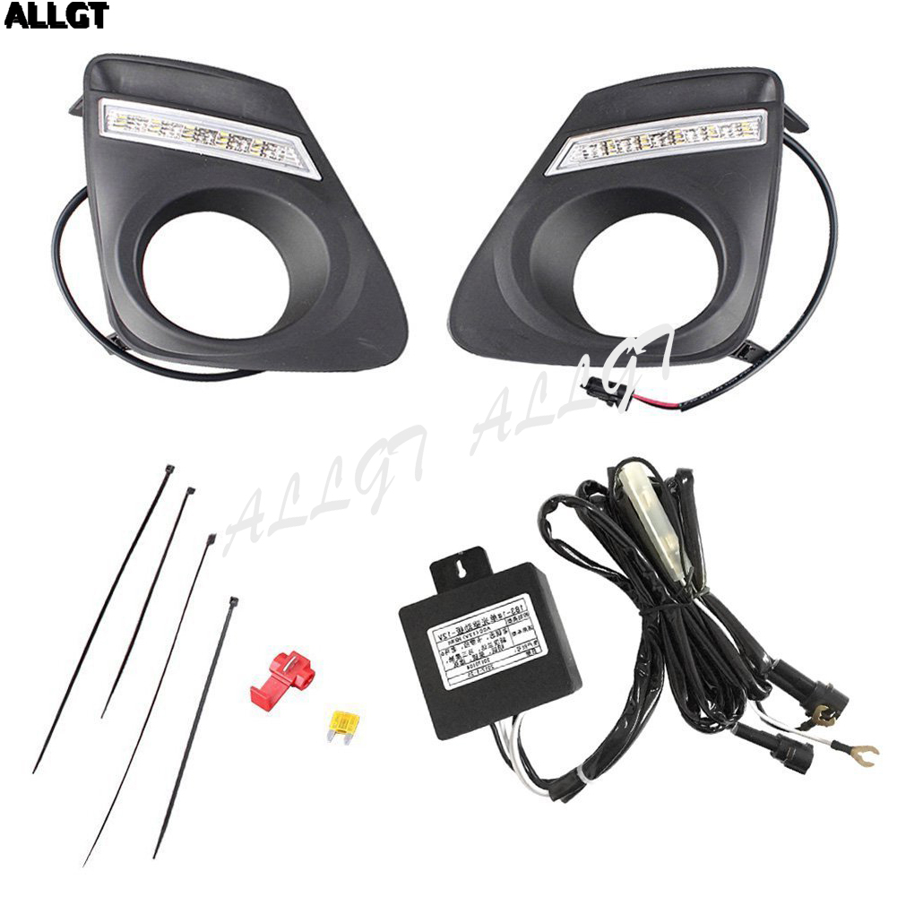 ALLGT 1 Pair Car LED Daytime Driving Fog Light DRL Kit For 2010-2013 Toyota Corolla air intake aluminium pipe kit for toyota corolla 1 6 1 8 2 0 rumion of rh drive noah pls contact for other car models