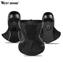 WEST BIKING Thermal Fleece Cycling Mask PU Rainproof  Windproof Full Half Face Winter Warm Snowboard Shield Hat