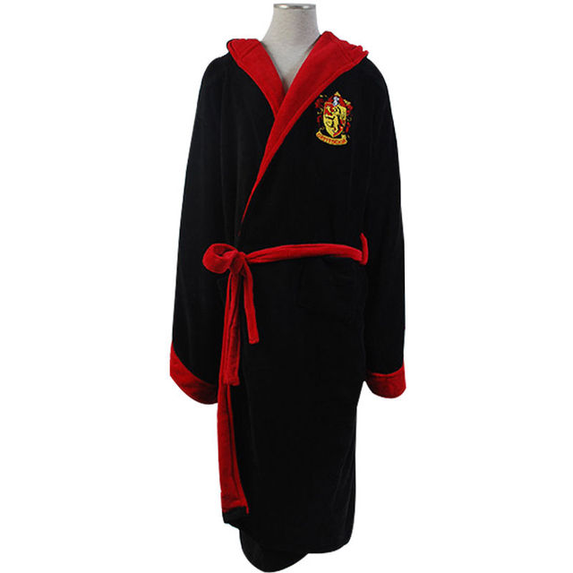 Hot Movie Harry Potter Gryffindor Fleece Hooded Bath Black Robe Manttle Kimono Cloak Bathrobe Cosplay Costume Adult Version