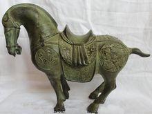 Lucky Chinese Bronze Dragon Phoenix War Stand Tang Horse Statue Sculptures
