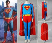 Superman cosplay Christopher Reeve Cape Jumpsuit Adult Cosplay Costume Full Set
