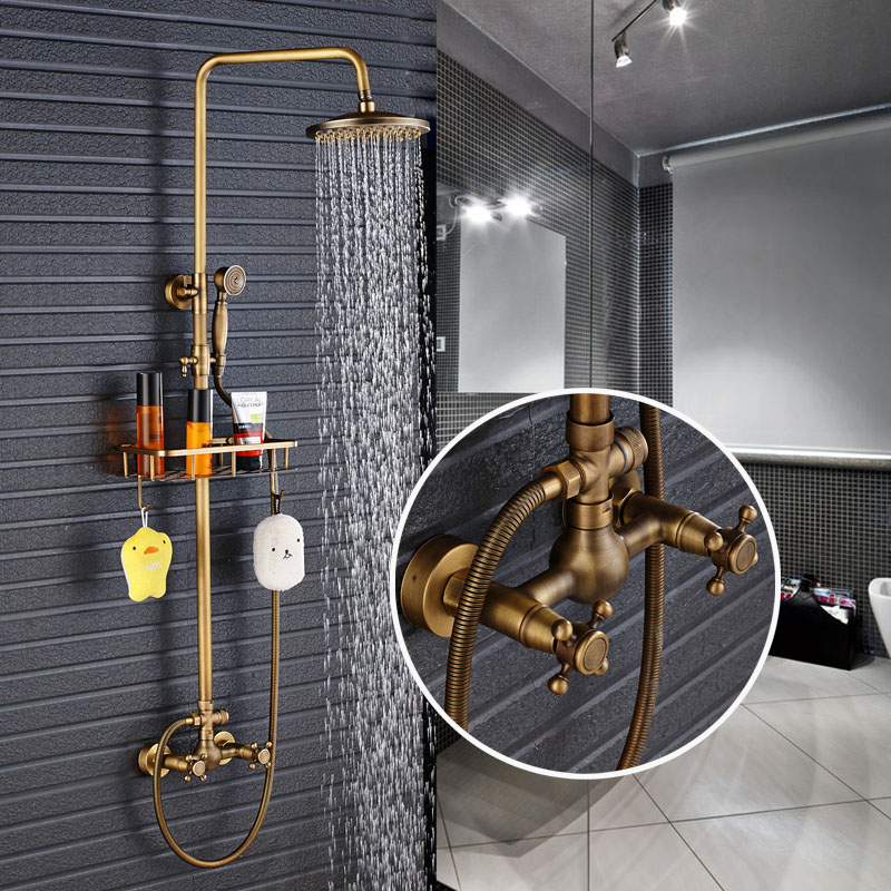 New Arrival Antique Brass Shower Faucet Set 8 Inch Shower Head Hand Shower Sprayer W/ Commodity Shelf Wall Mounted Mixer Tap wholesale and retail wall mounted thermostatic valve mixer tap shower faucet 8 sprayer hand shower