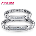 MOZO FASHION Lovers' Couple Jewelry Stainless Steel Magnetic Health Chain Bracelets Zirconia Bracelet for Women / Men MGS3072
