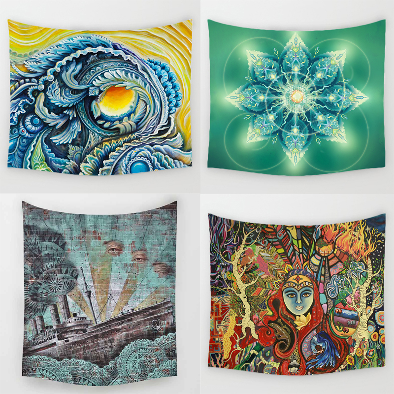 Comwarm Hippie Mandala Pattern Tapestry Durable Polyester Wall Hanging Gobelin 59''x51'' Minimalist Home Decor Mural Yoga Rug