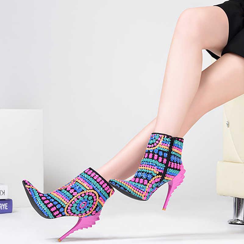 Rosa Palme Scarpe Da Donna stivali di stoffa con lustrini fucsia bling di paillette scarpe tacchi alti punta a punta stivali stivali sexy della caviglia