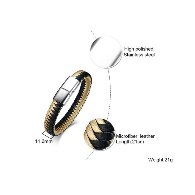 Высококачественный мужской индивидуальный браслет черный золотой