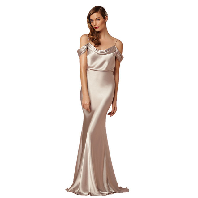 Customized Size Silver Silk Like Satin Evening Dress With Straps Off