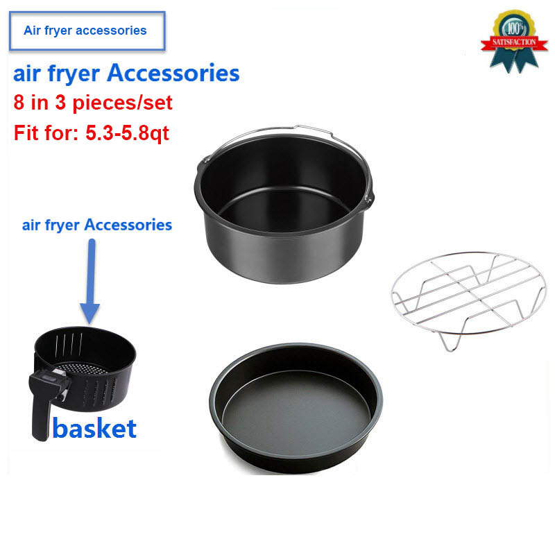 New Air Fryer Accessories Set Of 3 Pcs, Fit Airfryer 5.3QT-5.8QT, 8 Inch XL, Home Kitchen Cooking Tools For Baking, Cooking