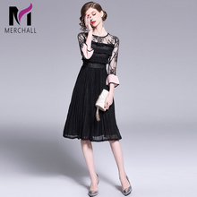 Merchall New Spring Black Lace Dress 2019 Women Vintage Hollow Out Elegant Vestidos Party Dresses Female Sexy Midi