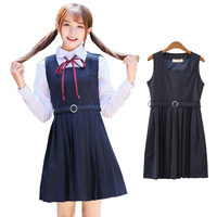 Japanese School Uniform Dress JK Lolita Girls Pleated Sailor Dress Women Summer Tank Dress Anime Cosplay