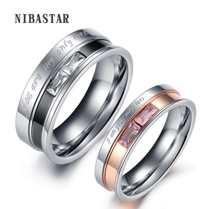 Couple Rings For Women / Men Stainless Steel Letter YOU ARE MY ONLY LOVE Ramantic Engagement Ring Wedding Jewelry