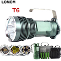 10W 18650 rechargeable Portable Spotlight 5*CREE XML-T6 LED Flashlight Searchlight For Hunting Torch +4*18650 Battery +Charger