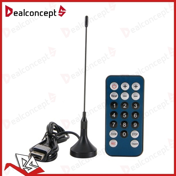 Mini DVB-T Digital TV Tuner USB Stick Receiver Recorder with Remote Antenna 20Pcs/Lot DHL Free Shipping