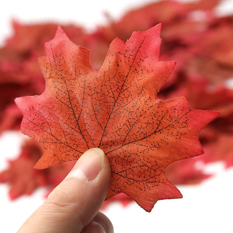 100Pc Artidicial Silk Cloth Maple Leaves Multicolor Autumn Fall Leaf For Art Scrapbooking Wedding Bedroom Wall Party Decor Craft