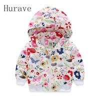 Hurave 2017 New Fashion Girls Coat Children  Kids Jacket Baseball Girls Outerwear Cartoon Rabbits Fish Flowers Hooded Coats
