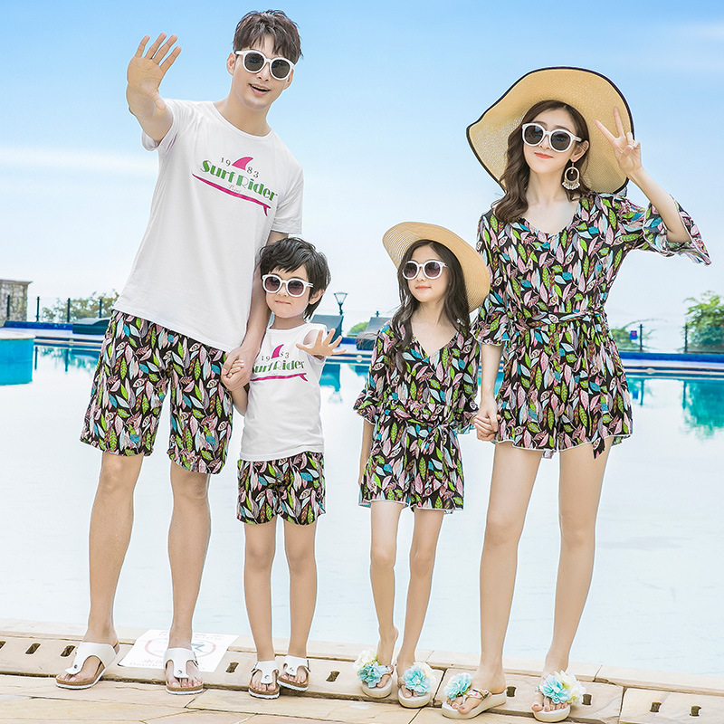 2019 Mother Daughter Dresses Seaside Beach Sleeveless Mother and Daughter Jumpsuit Skirt Father and Son Shirts Pants Clothes