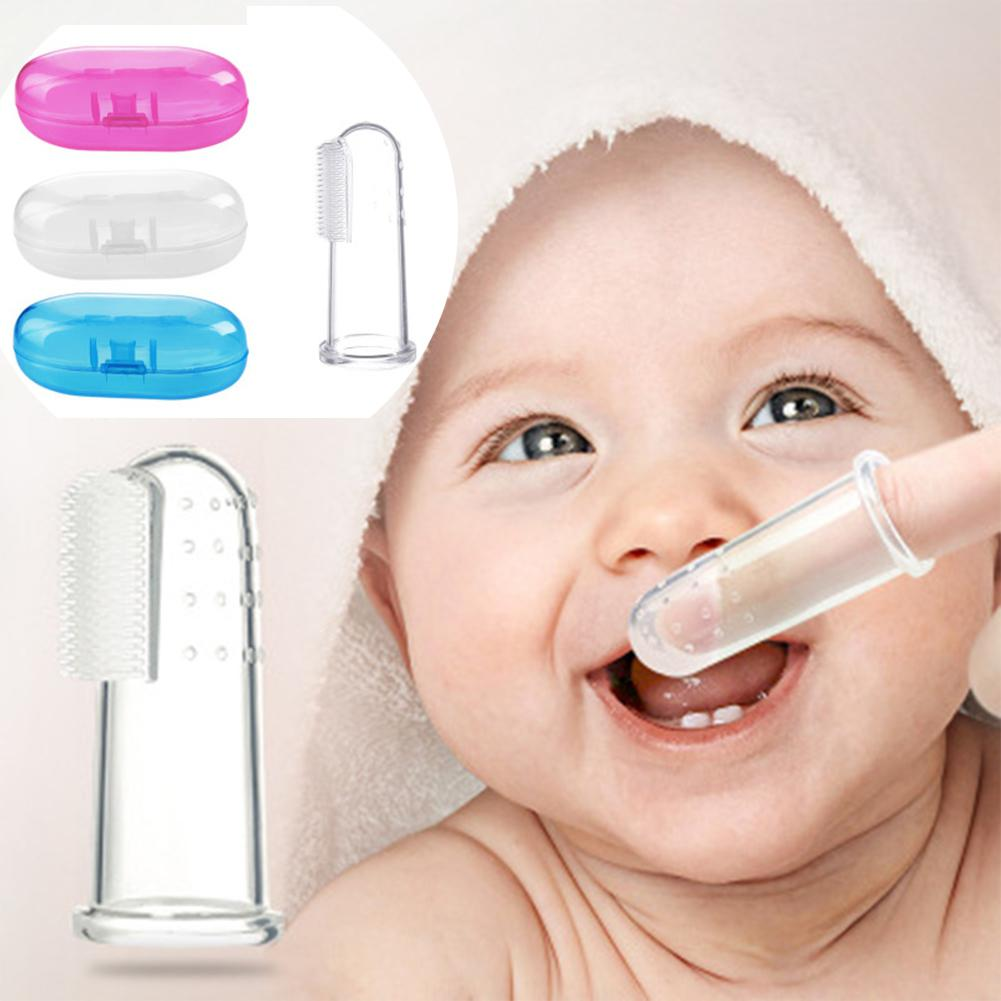 Baby Finger Toothbrush Silicon Toothbrush+Box Children Teeth Clear Infant Tooth Brush Rubber Cleaning Baby Brush Soft Silicone image