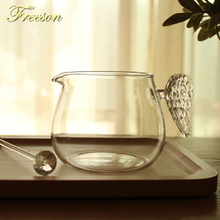 Pretty Angel Wing Glass Creamer Cup 430ml Creative Milk Jug Juice Tea Coffee Cup Clear Glass Mug Milk Frother Cafe Pitcher creative glass cow cups double wall handgrip milk cup mug insulation transparent drinkware udder style creamer pitcher jug