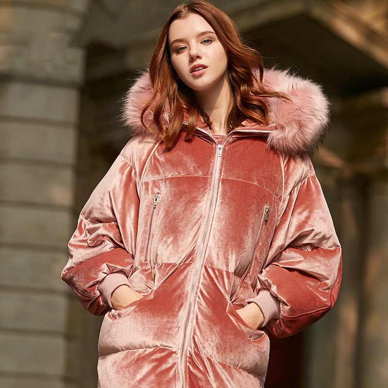 Velour Fur   Down   Parka Women Hooded Long   Down     Coat   2019 New Arrival Bat Sleeve Detachable Fur Collar Winter   Down   Jacket Women