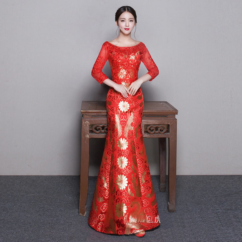 ᗕRed Bride Traditional Wedding Gown Chinese Qipao Dresses Long ...