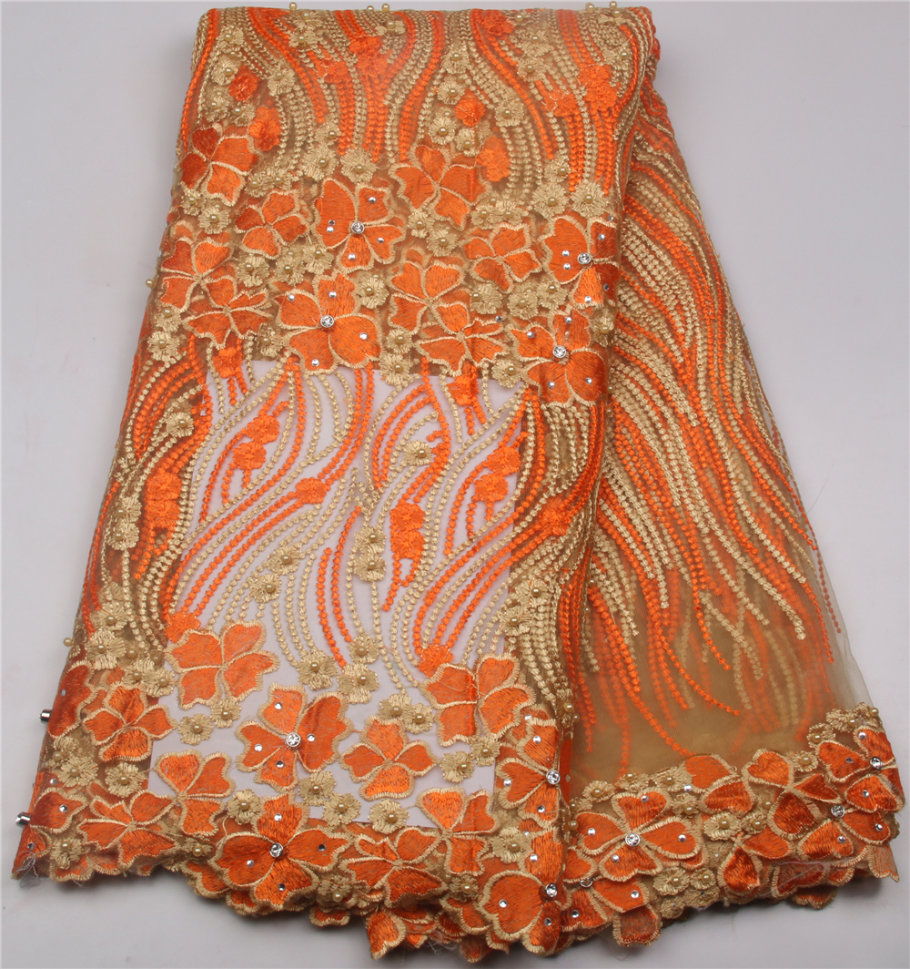 Hot Sale African Tulle Lace Fabric Orange Nigerian Lace New Design French Lace Fabric 5 yards Women Party Dress GD620B-2