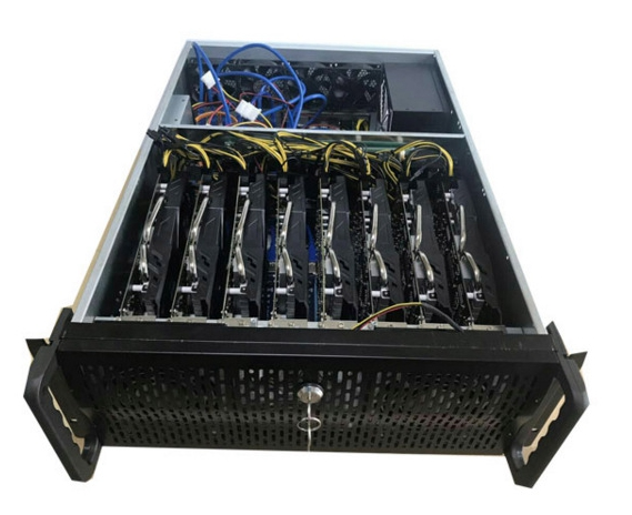 Crypto aluminum mining rig case USB miner BTC ETH Mmcion ATX chassiss Rack 19 housing Sever box 8 graphics card gtx1080 1080ti