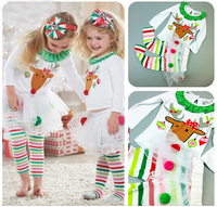 2PCS/0 5Years/Christmas Baby Girls Clothing Sets Cartoon Cute T shirt+Stripe Pants Costume For Kids Suit Children Clothes BC1329
