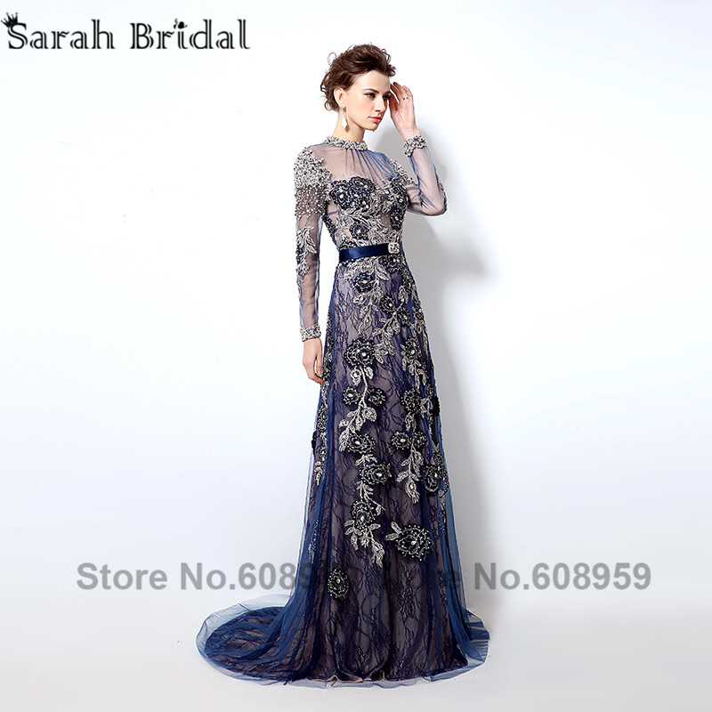 Unique Ball Gown Strapless Dark Navy Blue Satin Tulle Embroidered Corset Prom  Dress