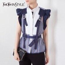 TWOTWINSTYLE 스트라이프 히트 컬러 패치 워크 여성 블라우스 스탠드 칼라 민소매 프릴 튜닉 셔츠 여성 패션 2020 여름