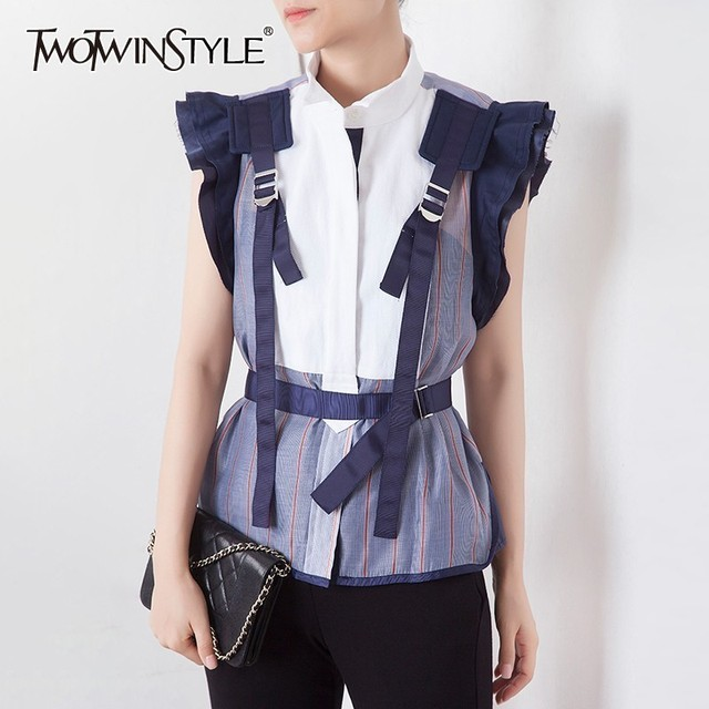 TWOTWINSTYLE פסים Hit צבע טלאים נשים חולצה צווארון עומד שרוולים קפלי טוניקת חולצה נשי אופנה 2020 קיץ