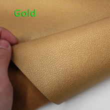Gold Small Lychee Pu Leather Faux Leather Fabric Pu Artificial leather Upholstery Leather Sold By The Yard Free Shipping