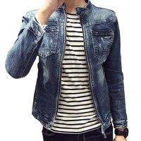 M 3XL men denim jackets for men stand collar cotton outerwear jean jacket men Slim Fit Casual With Pockets Coats For Men