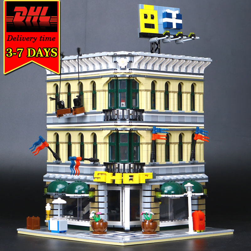DHL LEPIN 15005 Educational City Grand Emporium Model Building Blocks Set Compatible Bricks Kit Toy For Children Kids Gift 10211 a toy a dream lepin 15008 2462pcs city street creator green grocer model building kits blocks bricks compatible 10185