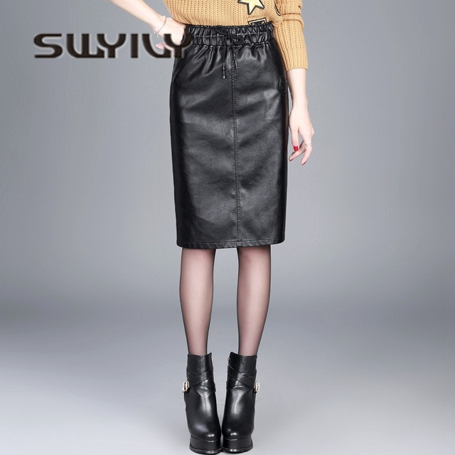 c48580addad6 SWYIVY Women s Skirt Faux Leather Mid Knee Length 2018 Autumn Winter Female  PU Skirt Elastic High