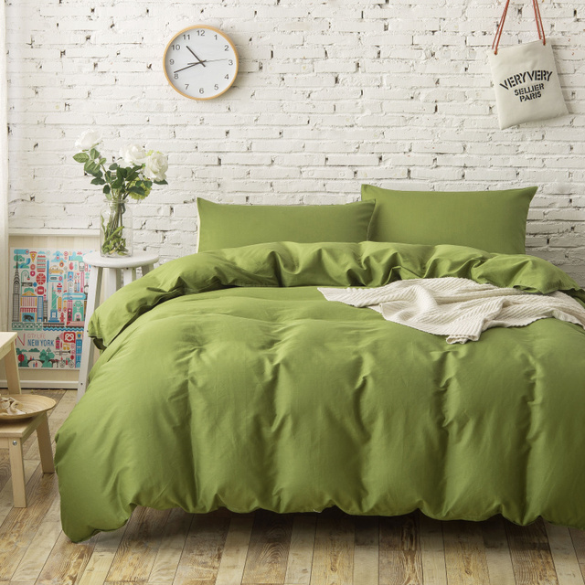 Lovely 4PC 100% Cotton Plain Solid Color Bedding Sets Army Green Duvet Covers  Single Twin Full