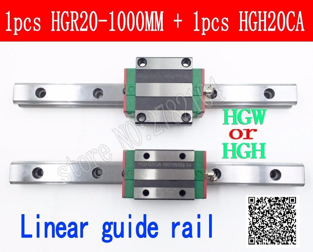 Neue linearführungsschiene HGR20 1000mm lange mit 1 stück lineare block wagen HGH20CA HGH20 HGW20CC CNC teile