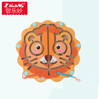 Kid Wooden Puzzle Magnetic Maze Toy Owl/Lion/Dolphin Cartoon Intellectual Development Brain Teaser Boy Girl Christmas Gift
