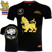 VSZAP Fitness Casual Men Tshirts Personality Printed Animal Kirin Lotus Short-sleeved Muay Thai MMA Fighting T-shirt UFC Sanda