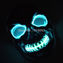 Funny Flashing  Party Mask EL Wire Glow LED Strip Halloween Decoration with DC-3V Sound activated New Prom