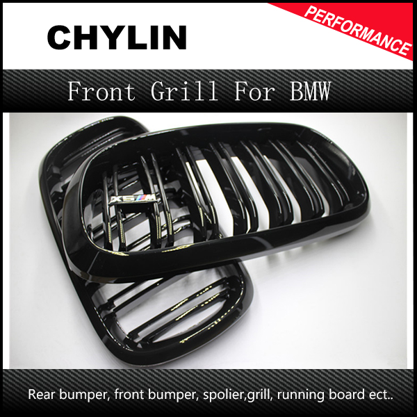 A Pair 14 -16 For BMW X5 F15 X6 F16 2014 2015 2016 Front Grille Dual Slats Gloss Black Finish x5 f15 x6 f16 abs gloss black grill for bmw x5 x6 f15 f16 front bumper grille kidney mesh