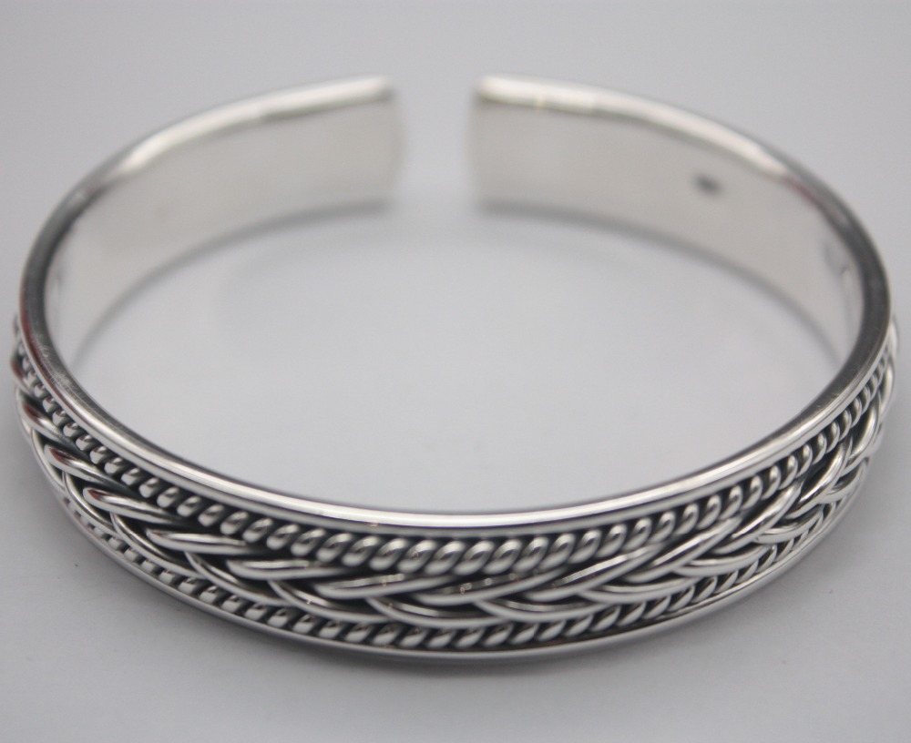 Classic Pure S925 Silver Bangle Woman Mans Weaving Rope Retro Open 59-62mm Bangle Fashion Friend Gift Hot Sale Classic Pure S925 Silver Bangle Woman Mans Weaving Rope Retro Open 59-62mm Bangle Fashion Friend Gift Hot Sale