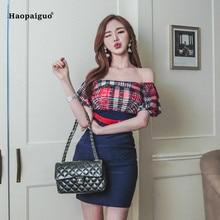Plus Size Patchwork Bandage Dress 2019 Red Short Puff Sleeve Slash Neck Plaid Casual Mini Off Shoulder Office Ladies