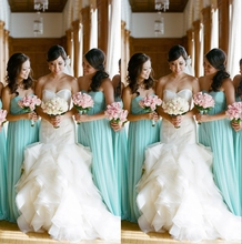 2016 New Bridesmaid Dresses Wedding Guest Formal Gown With A-line Sweet-heart Pleats Mint Blue Chiffon Floor Length Cheap