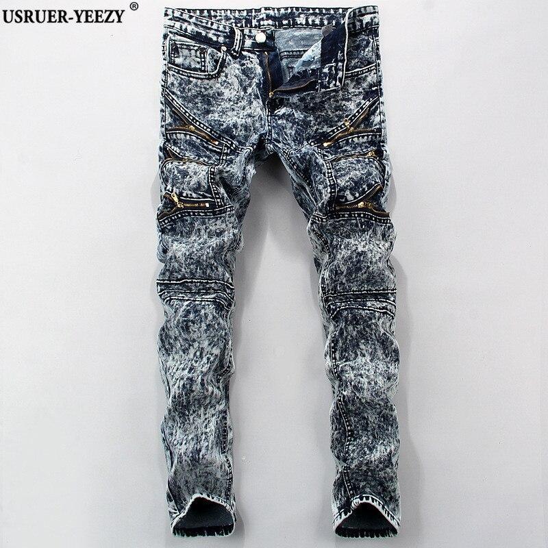 USRUER-YEEZY Men Jeans European American Style luxury Brand Mens Jeans Slim Straight Denim Trousers Pop Zipper Pencil Pants Male цены онлайн