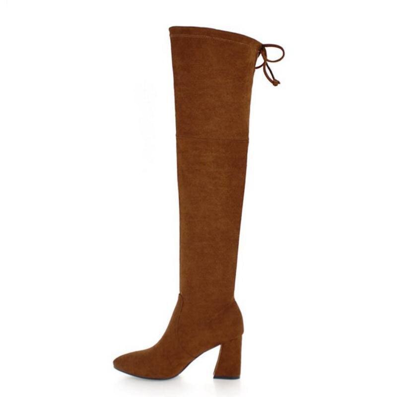 De Au Hauts 34 Color Épais Chaussures Talon D'hiver Sur Chaude Fizaizifai Mode Concis Genou Des 42 Fourrure Femmes Noir Dames Talons Taille Bottes caramel ZFzpWnWHxg