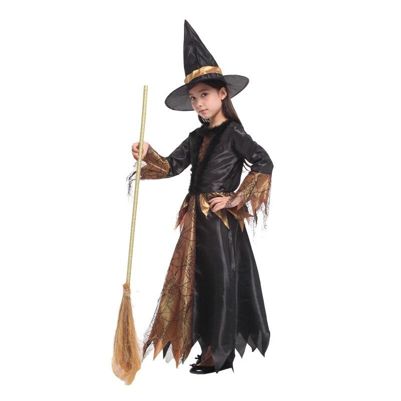 Black Gold Cobweb Witch Halloween Costume  2