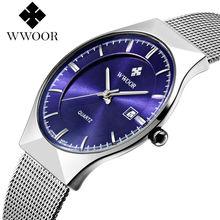 цена Top Luxury Brand WWOOR Men's Watches Stainless Steel Band Display Quartz Men Wrist watch Ultra Thin Dial Clpck Fashion Watch онлайн в 2017 году